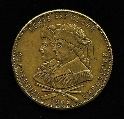 1905 LEWIS & CLARK EXPOSITION MEDAL REEDED EDGE 37mm SO-CALLED DOLLARS HK-331a