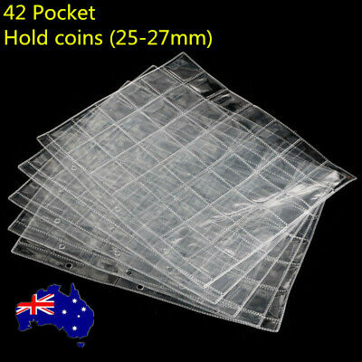 10 Pages 42 Pockets Plastic Coin Holders Storage Collection Money Album Case AU