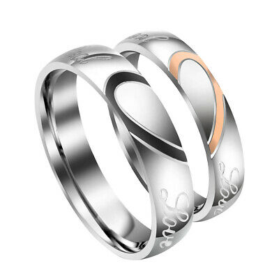 Engraving Couple Love Heart Stainless Steel Comfort Wedding Bands Promise Ring