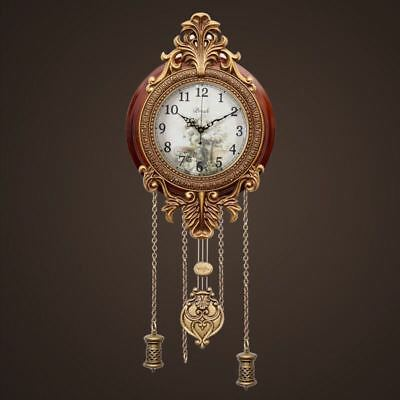 New Antique European Retro Wood Metal Artwork Indoor Wall Clock Wind up Pendulum