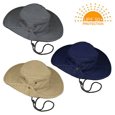 UPF 50+ Boys Kids Safari Outback Bush Australian Holiday Hat Cap With Wide Brim