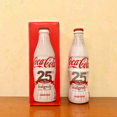 COCA COLA GLASS WRAPPED BOTTLE - 330ml ITALGROB - NEW FULL BOTTIGLIETTA PIENA
