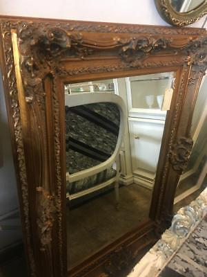 Gold Rococo Influenced Carved French Louis Xv  Bevelled Mirror