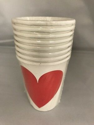 Valentines Pack of 8 9oz Red Heart on White Background Paper Cups Disposable