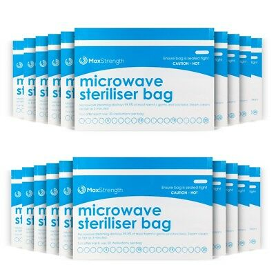 Microwave Steriliser Bags Premium 10pc Pack by Max Strength, Large & Durable