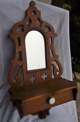 Victorian Wall Shelf With Mirror & Drawer