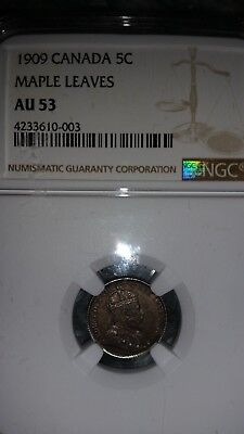 Ngc Au53 1909 Canada 5 Cents Maple Leaves (Bow Tie On Crown)