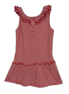 Baby Girls Mothercare Red White Stripe Sleeveless Ruffle Dress Age 12-18 Months