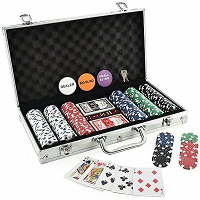 Poker Set Chip Dice Style Casino Aluminum Case Black Felt Interior Of 300
