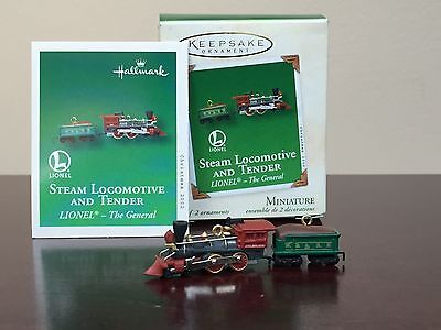 2002 Hallmark MINIATURE Ornament Steam Locomotive And Tender  The General