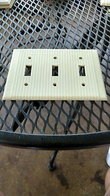 Vtg Bakelite Ivory 3 Gang Switch Light Switch Plate Art Deco Leviton Ribbed