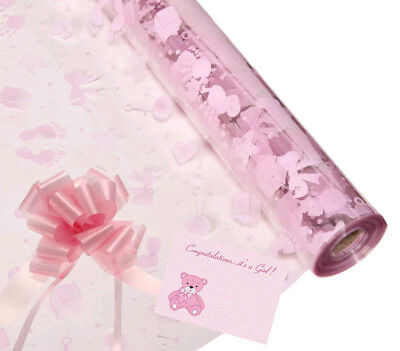 Baby Girl Cellophane Gift Wrap Baby Shower + FREE Pull Bow Curling Ribbon & Card