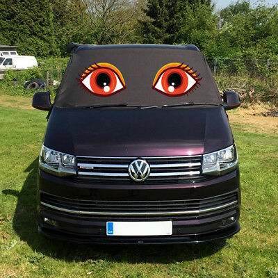 VW T6 Screen Cover Curtain Window Wrap Frost Black Out Blind Eyes Orange Red