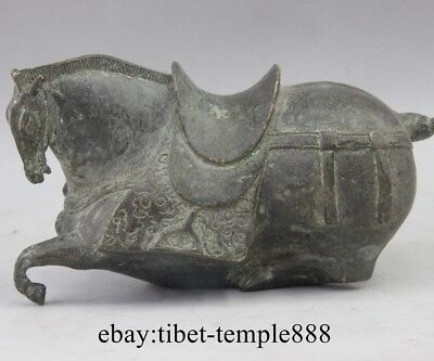 China Bronze Art Chinese Zodiac Fengshui Animal Lucky Horse Tang Horse Statue