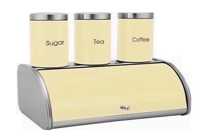Food & Kitchen Storage Capable Bread Bin Set With Matching Canister Set Tea Coffee Sugar Jar 4pc Mint Green Sfg Without Return Home, Furniture & Diy