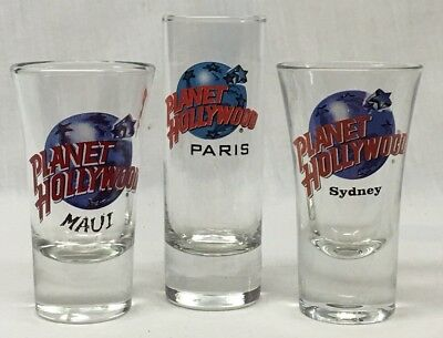 PLANET HOLLYWOOD SET OF 3 SHOTGLASSES, Maui, Sydney & Paris