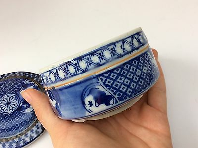 Vintage Chinese White and Blue Floral Porcelain Trinket Jewelry Box