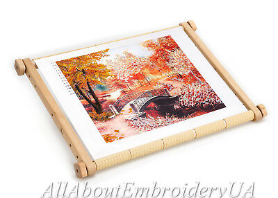 Needlework Tapestry Wooden Scroll Frame Embroidery Tool Stitching Hoop Holder