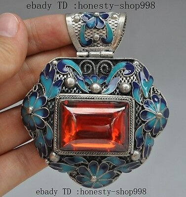 chinese tibet silver Cloisonne Enamel Inlay red Gem Butterfly flower pendant