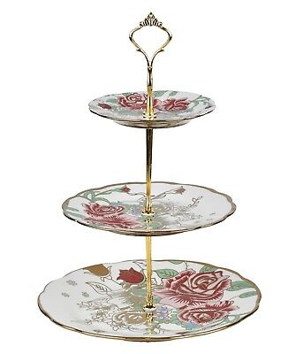 3 Tier Vintage Floral Ceramic Cake Stand Cupcake Wedding Plate Tea A1