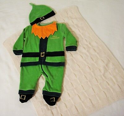 Leprechaun Suit and Hat for Baby and hand Knit Bainin Pram Blanket Gift Boxed