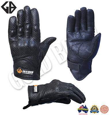 Goldbrow Stylish Top Real Goatskin Leather Perforated Summer Motorcycle Gloves