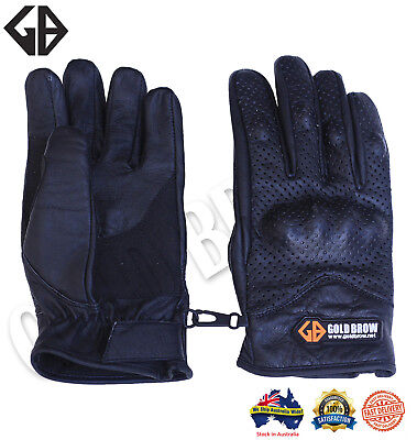 Goldbrow New Short Top Real Goatskin Leather Perforated Summer Motorcycle Glove