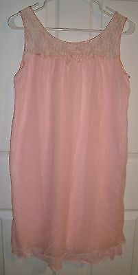 Vtg Aristocraft Double Nylon Chiffon Baby Doll Night Gown Pink Lace Large Sissy