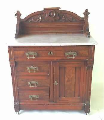 Antique Victorian Walnut Marble Top Wash Stand / Commode Eastlake