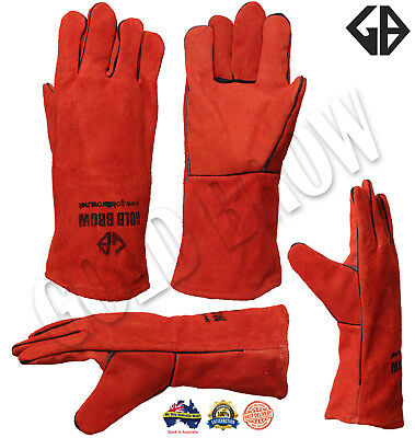 Goldbrow Xl Long Welding Gloves | Split Leather Cowhide Protect Welder Hands