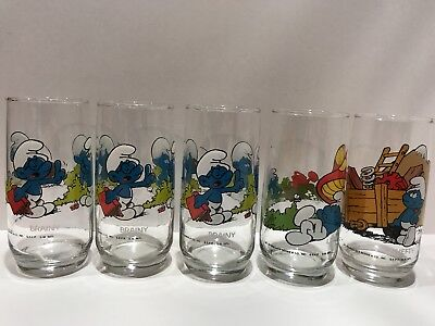 Smurf Drinking Glasses Vintage 1982 Peyo lot of 5