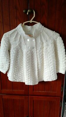 Vintage Tregalon Marshall Fields 100% Acrylic Sweater White Button Up
