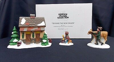 Dept 56 Dickens Village ~ Tending The New Calves ~ Original Box 58395 Porcelain