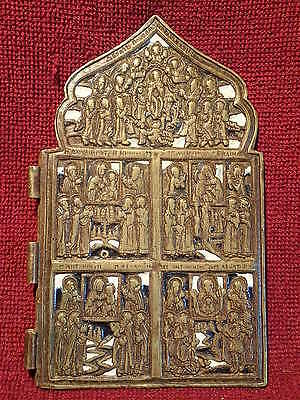 1800-s ANTIQUE ORIGINAL  2- COLOR ENAMEL RUSSIAN BRASS BRONZE TRAVEL ICON