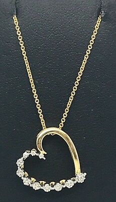 18k Gold Tone Plated Sterling Silver Diamond Heart Love Pendant Necklace 18""