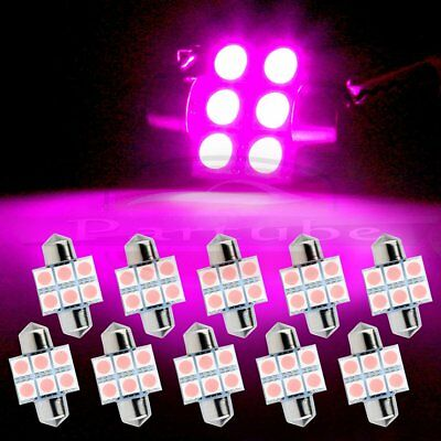 10x Interior Festoon 31mm Purple 6SMD 5050 Car LED Map/Dome/License Light Bulbs