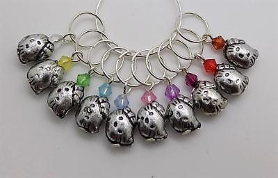 10 x Childrens HELLO KITTY Knitting Stitch Markers - fit upto 7.5mm needles