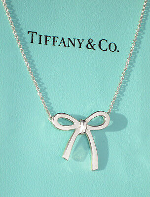 Tiffany & Co Bow Ribbon Sterling Silver Pendant Necklace