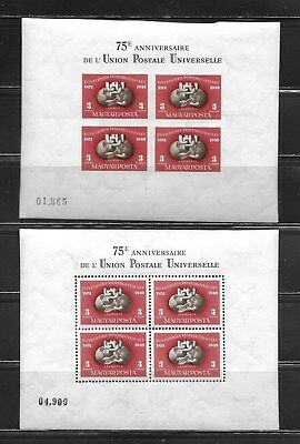 Hungary 1949 75th Anniversary of the UPU souvenit sheets – PERF & IMPERF MNH