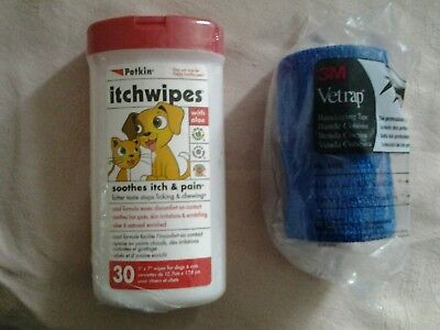 Petkin itchwipes for dogs and cats and 3m vetrap bandaging tape