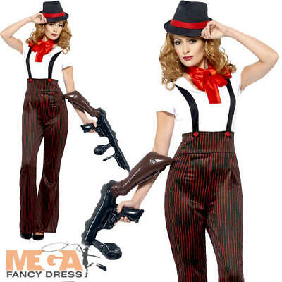 Ladies Glam Gangster Costume 1920s Mob Mafia Boss Womens Fancy Dress Outfit