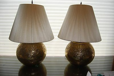 Uniquely Pair of Stunning Large Bulbous Ornately Embossed Brass Lamps