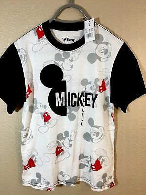 Disney Nwt Boy's T Shirt Size L White/black