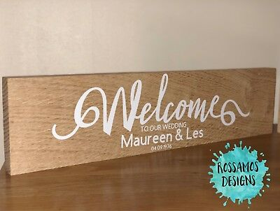 Wooden Oak Wedding Sign Plaque - Personalised - Welcome to our wedding