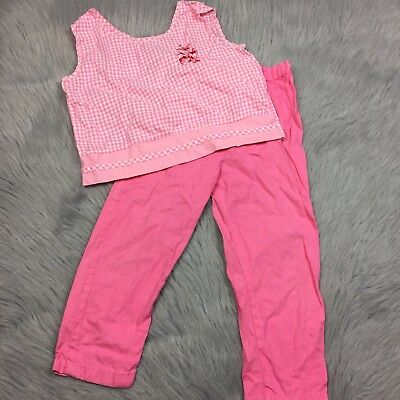 Vintage Girls Pink 2 Piece Outfit Gingham Tank Pants *Play Condition
