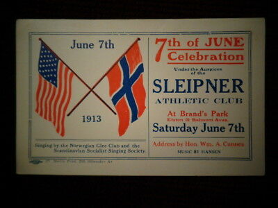 Antique Advertisng Card Brand's Park Chicago Celebration 1913 US & Norway Flags