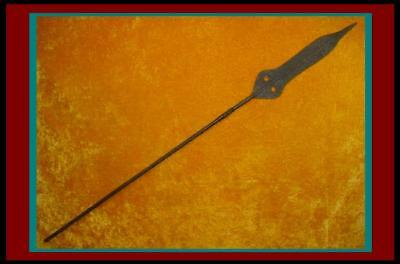 AUTHENTIC AFRICAN SPEAR with Large HAND FORGED BLADE w/ Copper Reinforced Shaft