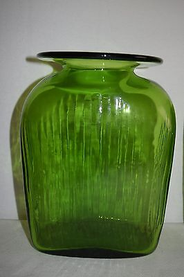 Emerald Green Depression Glass Hoosier Style Forest Green Glass Handblown Ribbed