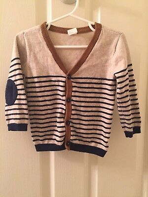 H&M Baby Boy Cardigan Sweater Size 9-12 Months Elbow Patch Tan Navy Stripes