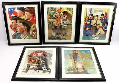 "Vintage Norman Rockwell 14""x11"" Framed Boy Scouts BSA Prints Leader Eagle"